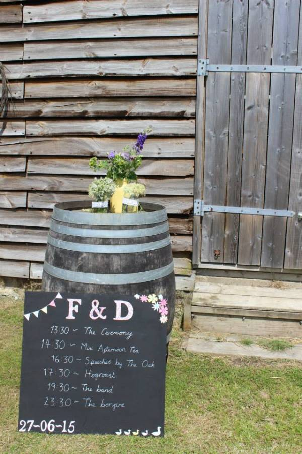 Rustic chalkboard table plan and wildflowers