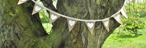 Hessian (Burlap) Bunting with Hearts, Acccessories £9.99