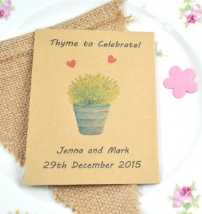Thyme to celebrate recycled seed packet wedding favour