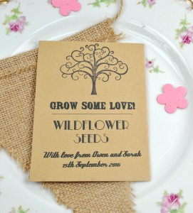 Grow some love recycled seed packet wedding favour